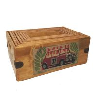 Mini Cooper Box Vintage Wooden Crate Classic Rally Car